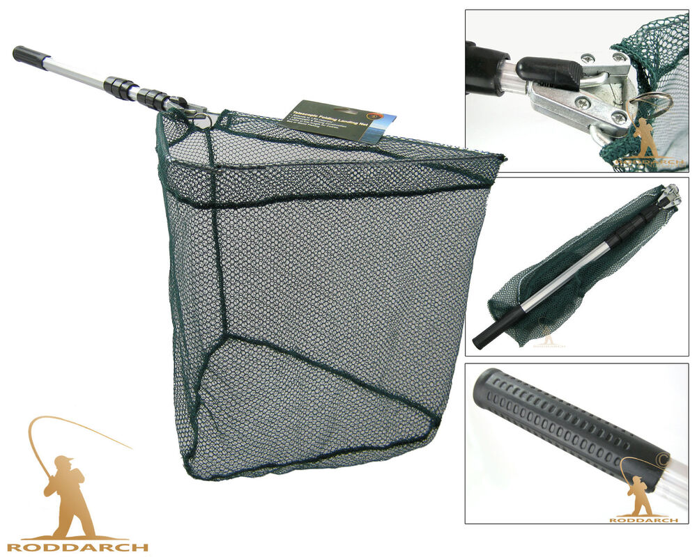Telescopic folding fishing landing net tele pole micro for Telescoping fishing net