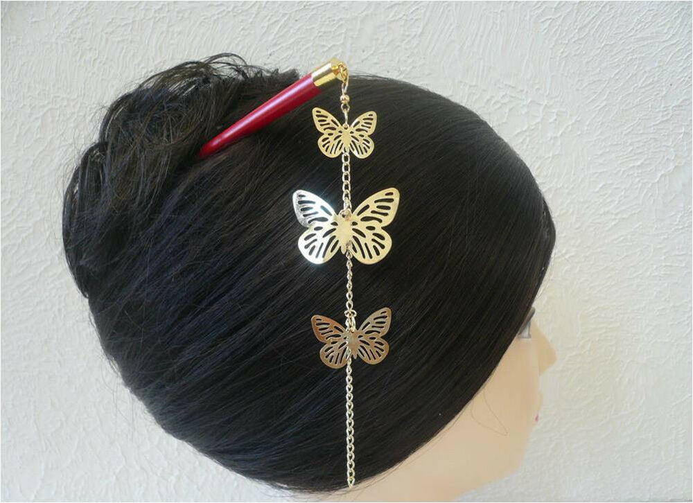 Japanese Gold Tone Quot Cho Cho Quot Butterfly Design Kanzashi Red