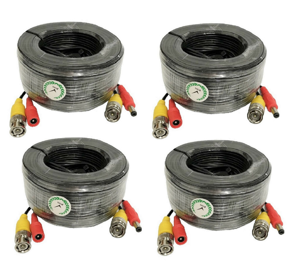 Lot 4 X New 100ft Bnc Cctv Video Power Cable Ccd Security