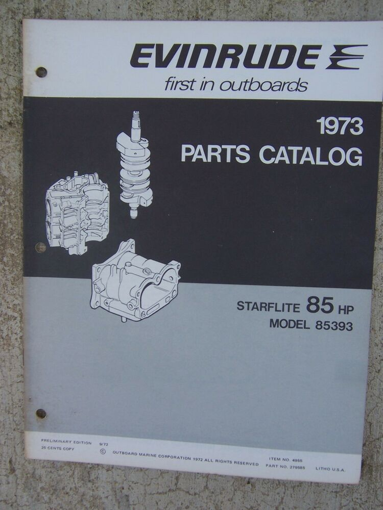 1973 evinrude starflite 85 hp outboard motor parts catalog for Outboard motor parts online