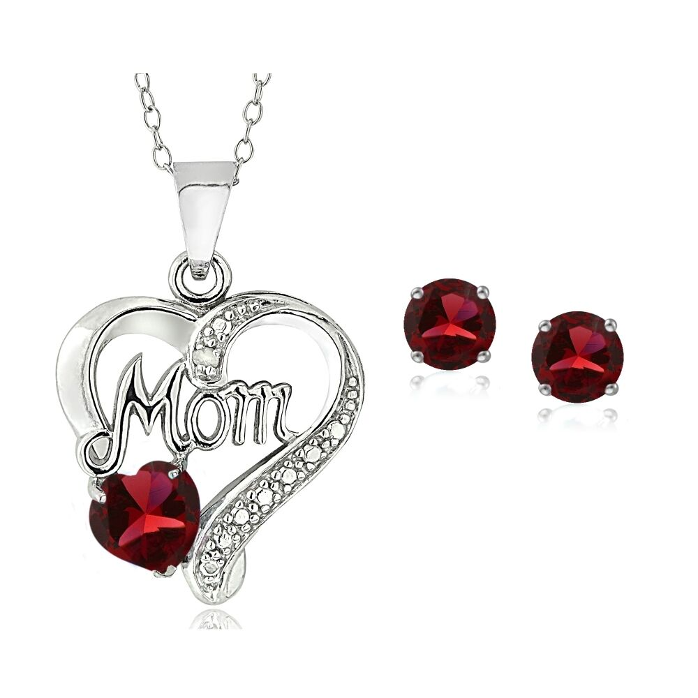 925 Silver Created Ruby Amp Diamond Accent Heart Mom Necklace And Earrings Set Ebay