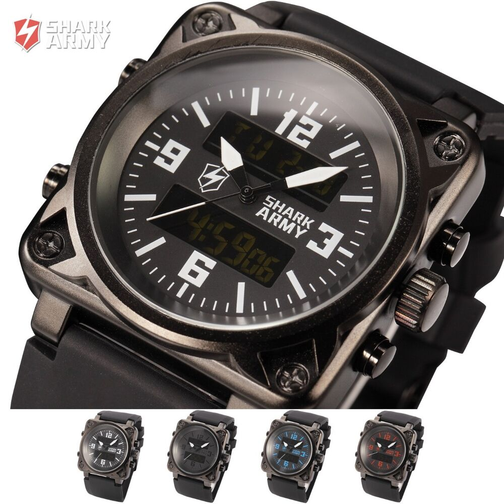 shark army mens analog digital wrist lcd chronograph