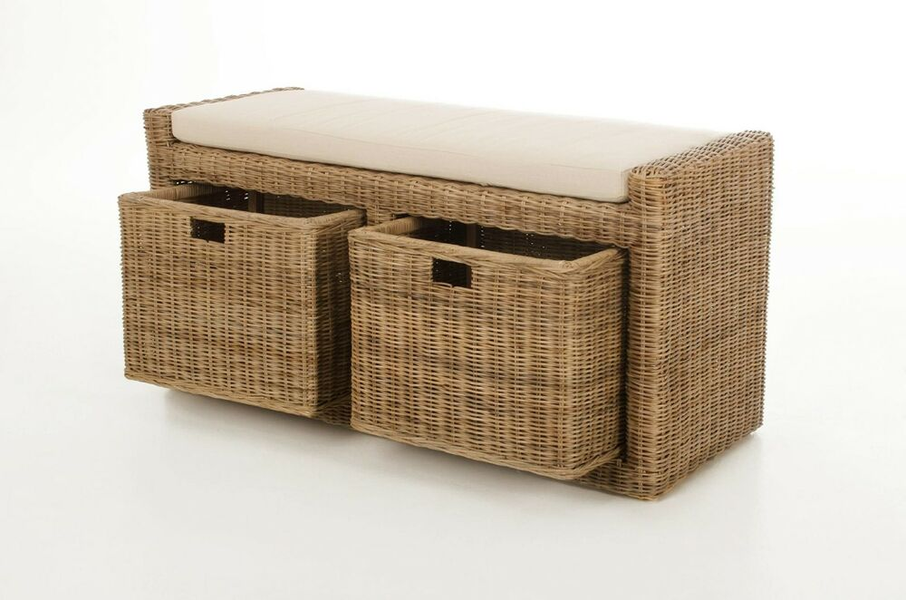 vivanno sitzbank lorante aus rattan mit kissen 105cm light grey ebay. Black Bedroom Furniture Sets. Home Design Ideas