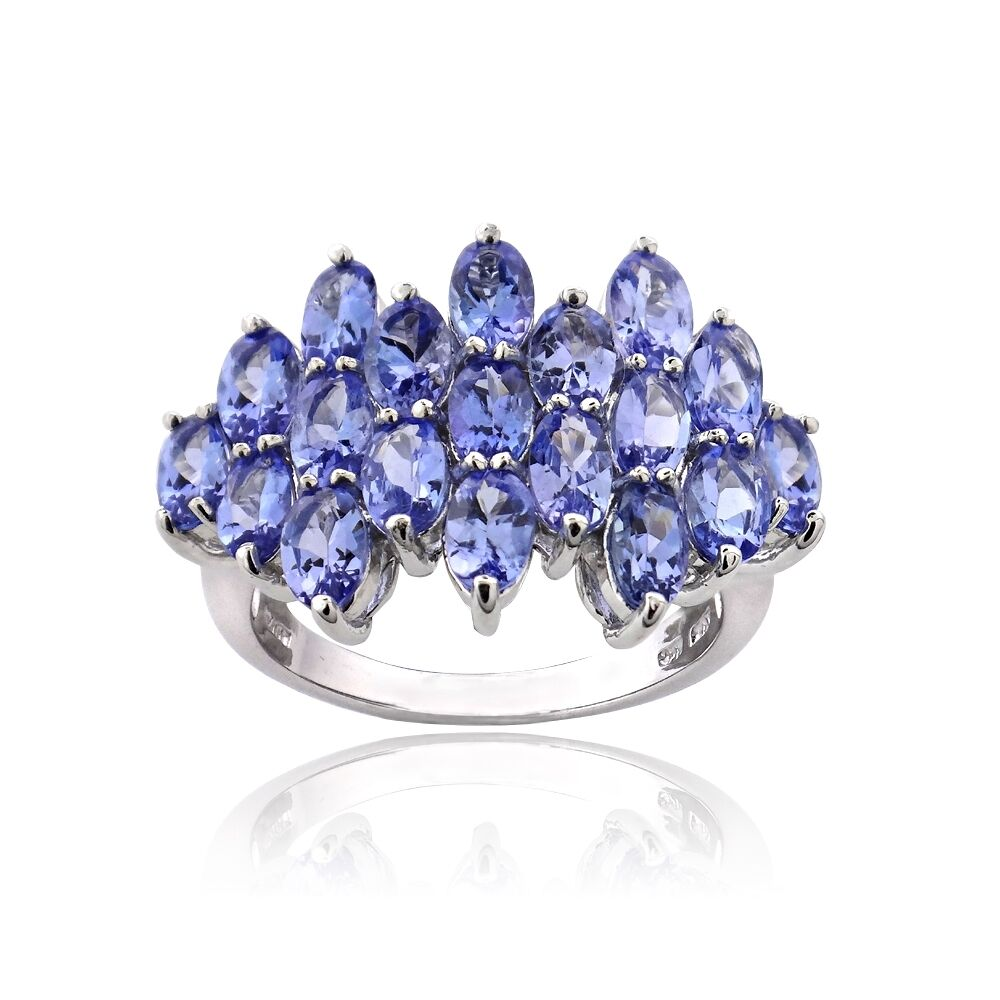 925 Silver 5 2ct Tanzanite Oval Cut Cluster Ring Ebay