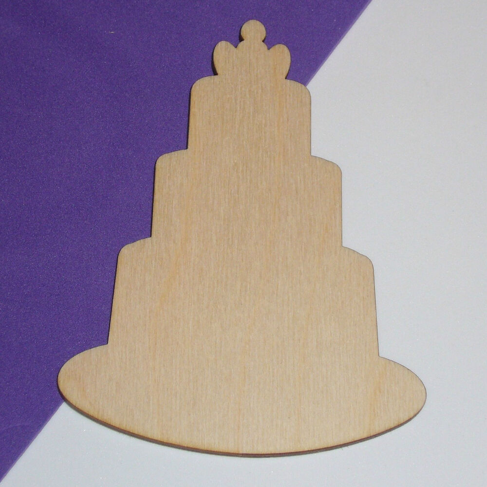 Wedding cake unfinished wood shape cut out wc5112 crafts for Wood circles for crafts