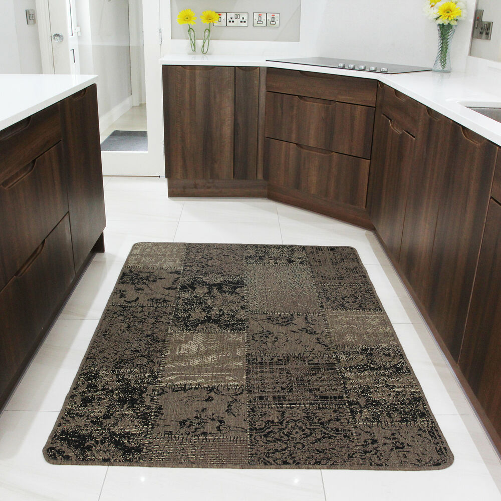 Small large beige modern rugs non slip rubber back kitchen for Large kitchen area rugs