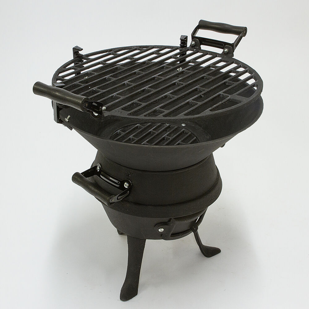 Black portable cast iron charcoal bbq grill fire pit