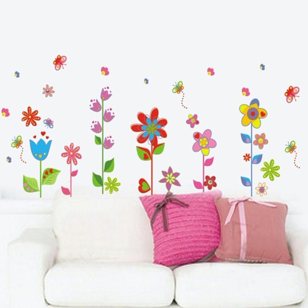 Flower butterfly removable vinyl decal art mural home for Butterfly wall mural