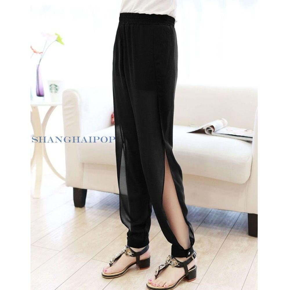 Women Side Slit Chiffon Trousers Pants Harem Sheer See-through Sexy Black/Blue | eBay