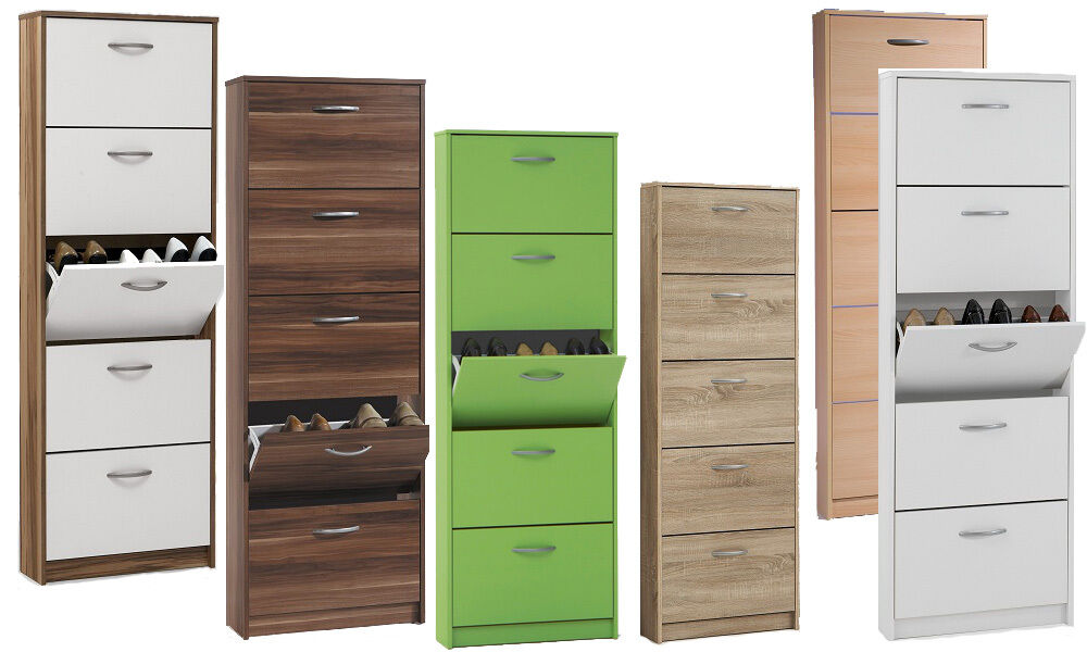 schuhschrank mit 5 schuhkipper verschiedenen farben buche weiss nussbaum eiche ebay. Black Bedroom Furniture Sets. Home Design Ideas