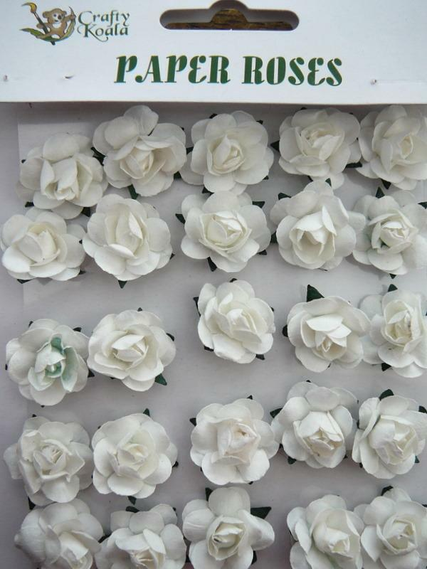 Adhesive white paper roses flowers card making new ebay for Rose adesive