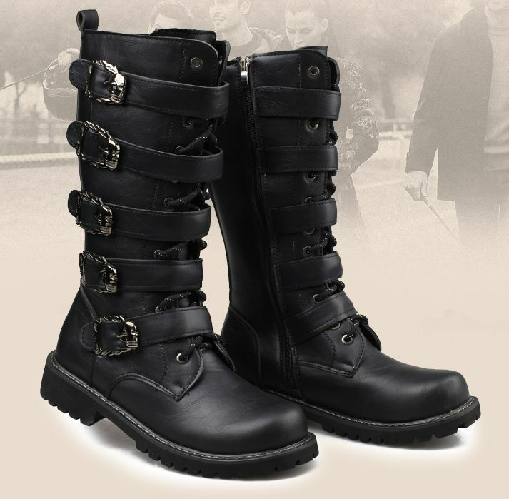 mens knee high boots zip pointed toe buckle