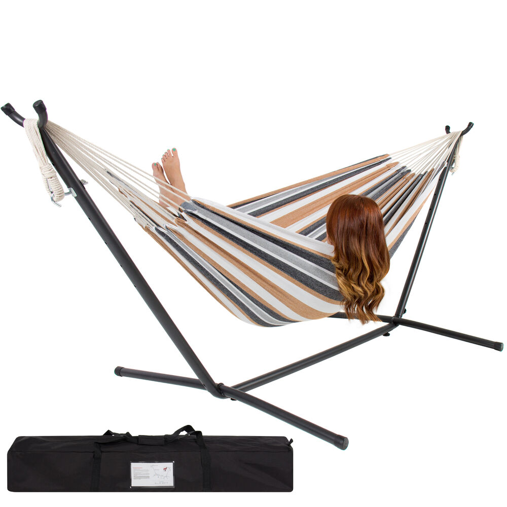 Double Hammock With Space Saving Steel Stand Includes