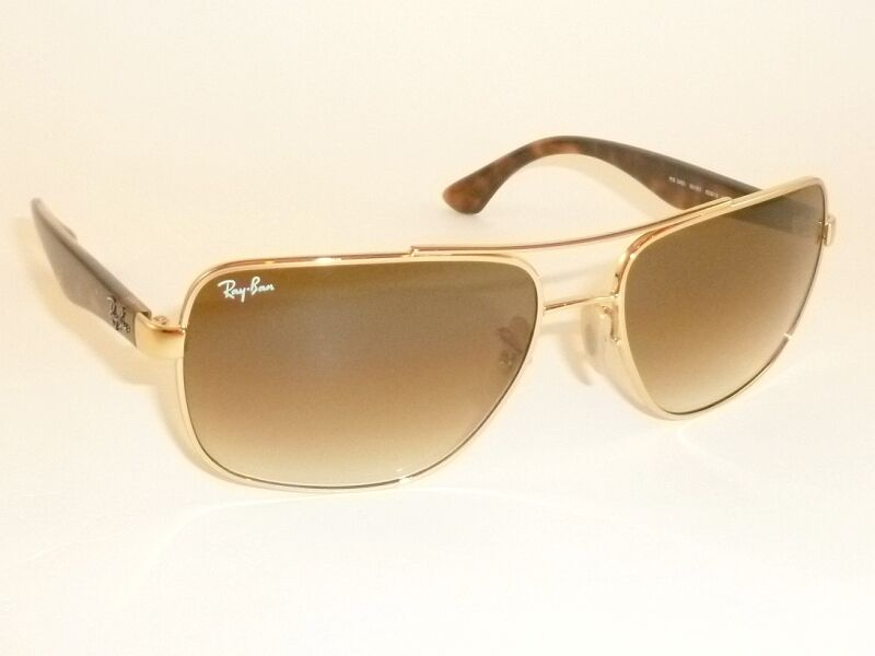 ray ban golden glass  new ray ban sunglasses gold frame rb 3483 001/51 glass gradient brown lenses