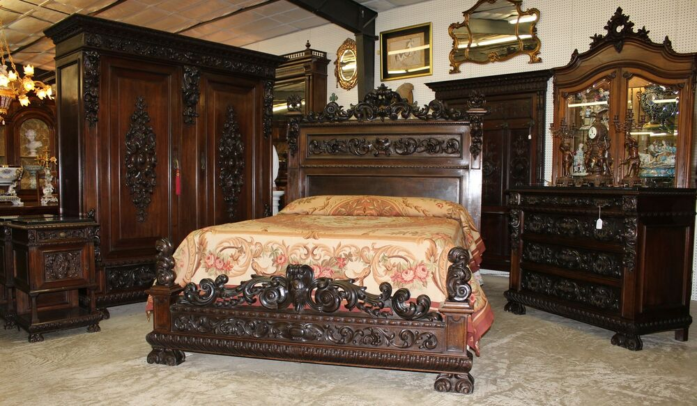 Antique carved italian walnut 19th century five piece for Antique bedroom furniture