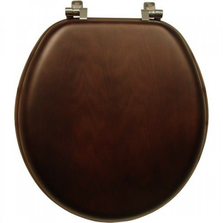Mayfair Bemis Natural Walnut Wood Toilet Seat With Chrome
