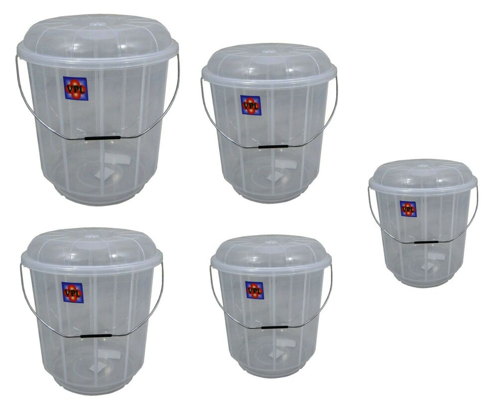 Black Kitchen Bin Sale: Clear Plastic Garden Kitchen Cleaning Bucket Bin With Lid