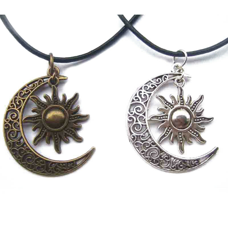 Crescent Moon And Sun Charm Pendant Black Leather Necklace ...