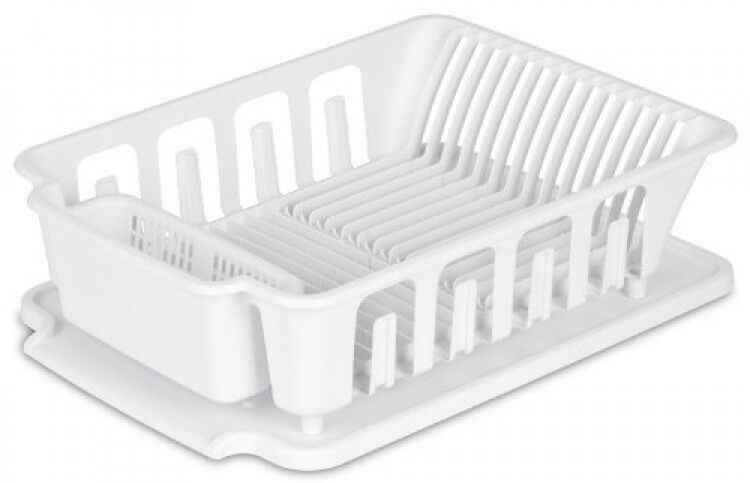 Sterilite 2 piece large sink set dish rack drainer white dry counter dishes ebay - Dish racks for small spaces set ...