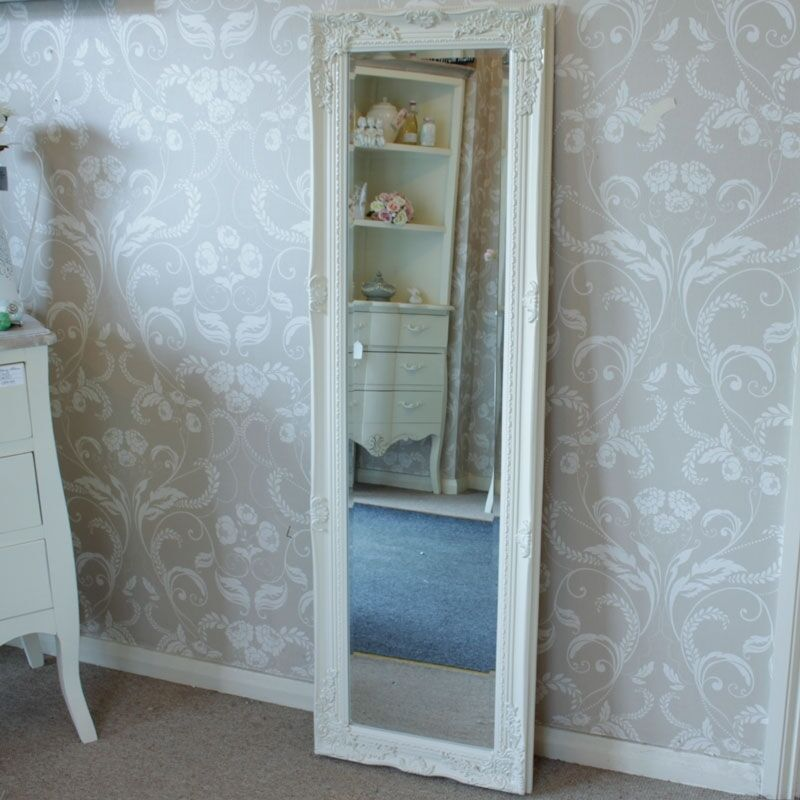 Ivory cream ornate wall mirror tall shabby freestanding for Tall slim mirror
