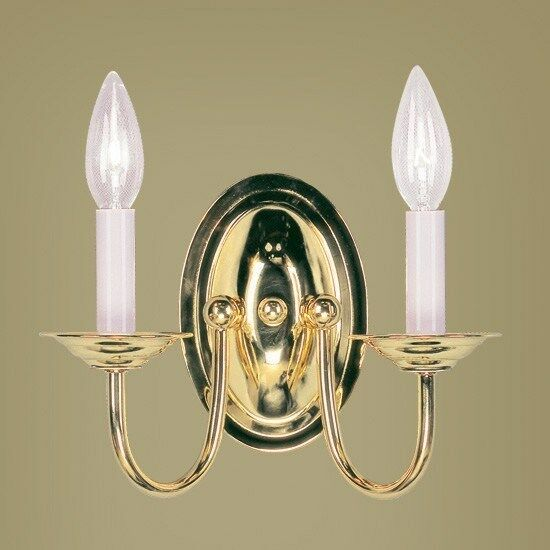 NEW 2 Light Colonial Candle Wall Sconce Lighting Fixture, Polished Brass, Livex eBay