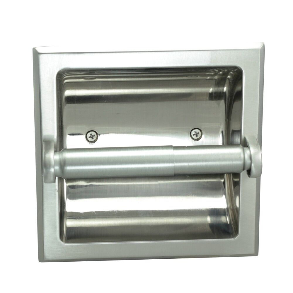 Aurora Satin Nickel Recessed Toilet Tissue Paper Holder