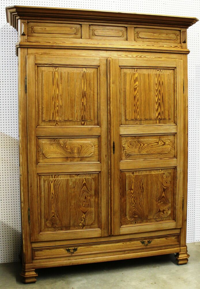 Antique Country French Wardrobe Armoire Double Door Solid