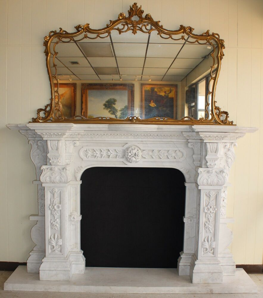 Hand Carved Carerra Marble Country French Monumental Fireplace Mantel Columns Ebay