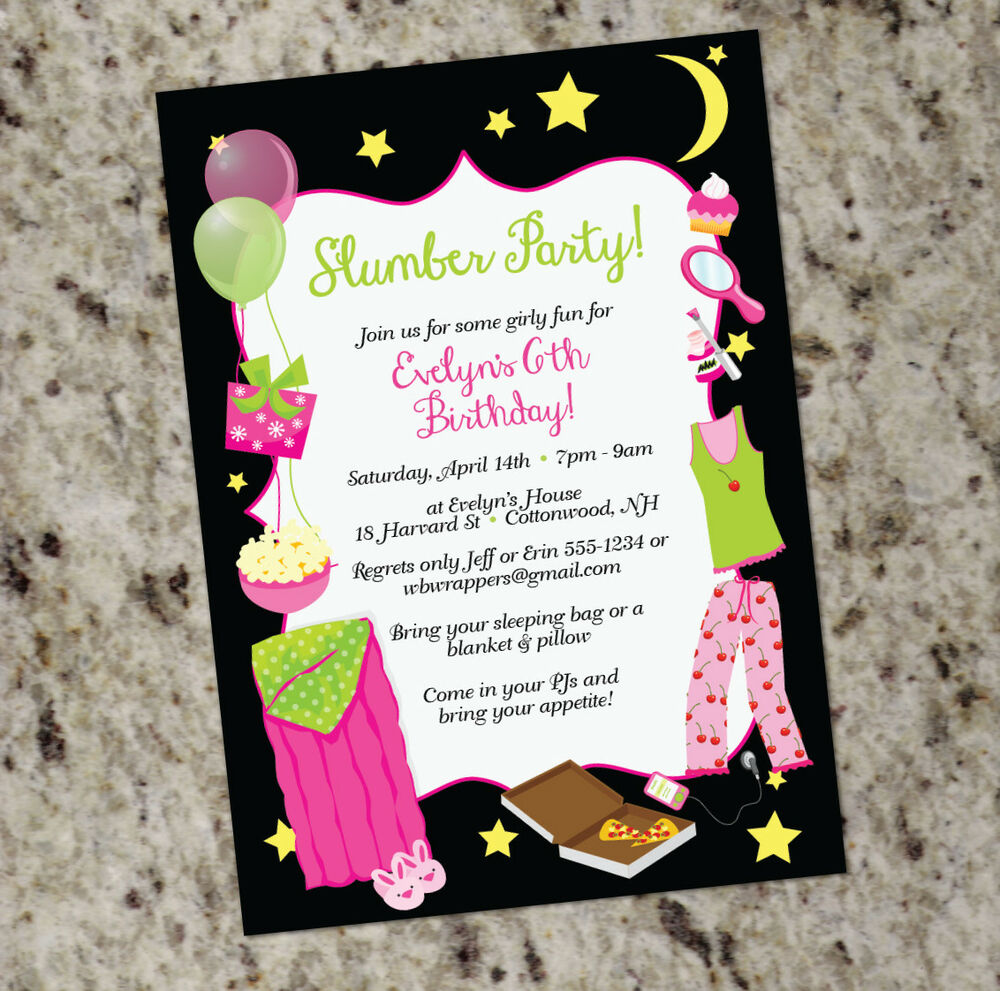 Sleepover! Slumber Party Themed Invitations - Girly Design ...
