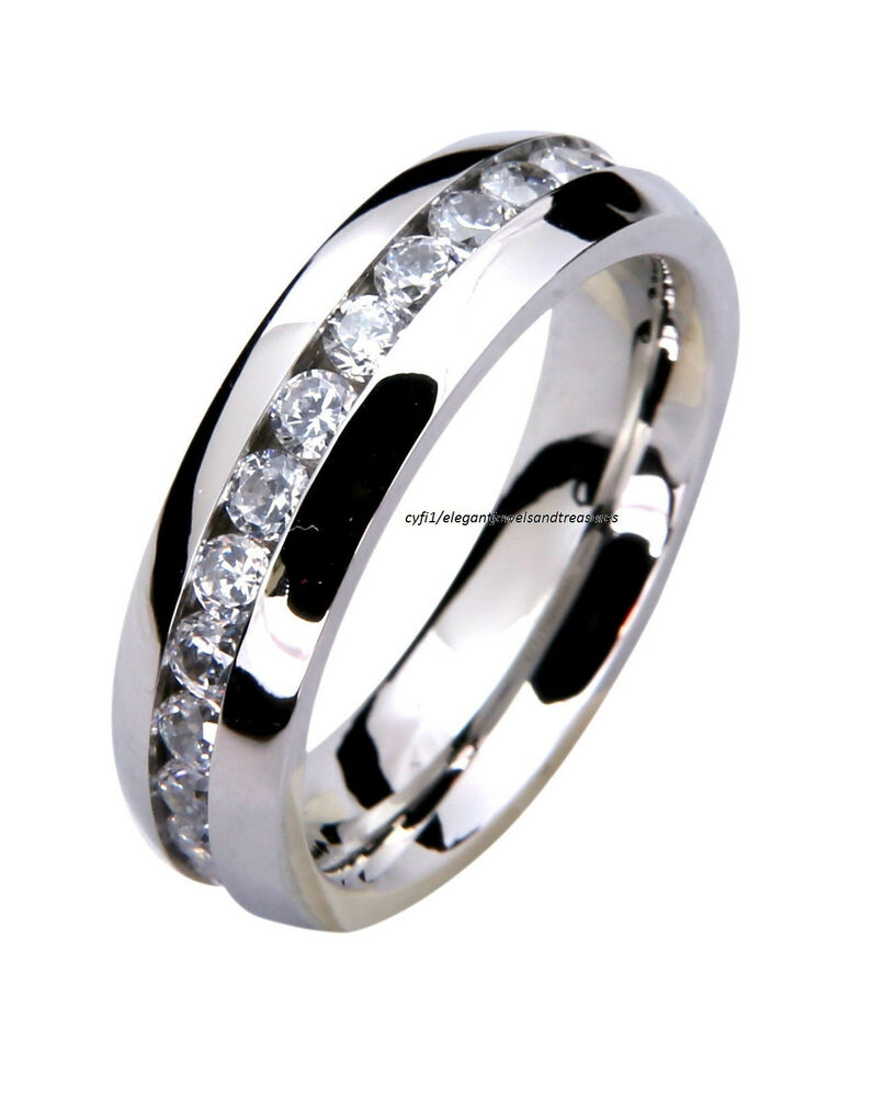 steel mens ladies comfort fit 6mm cz eternity wedding band ring ebay