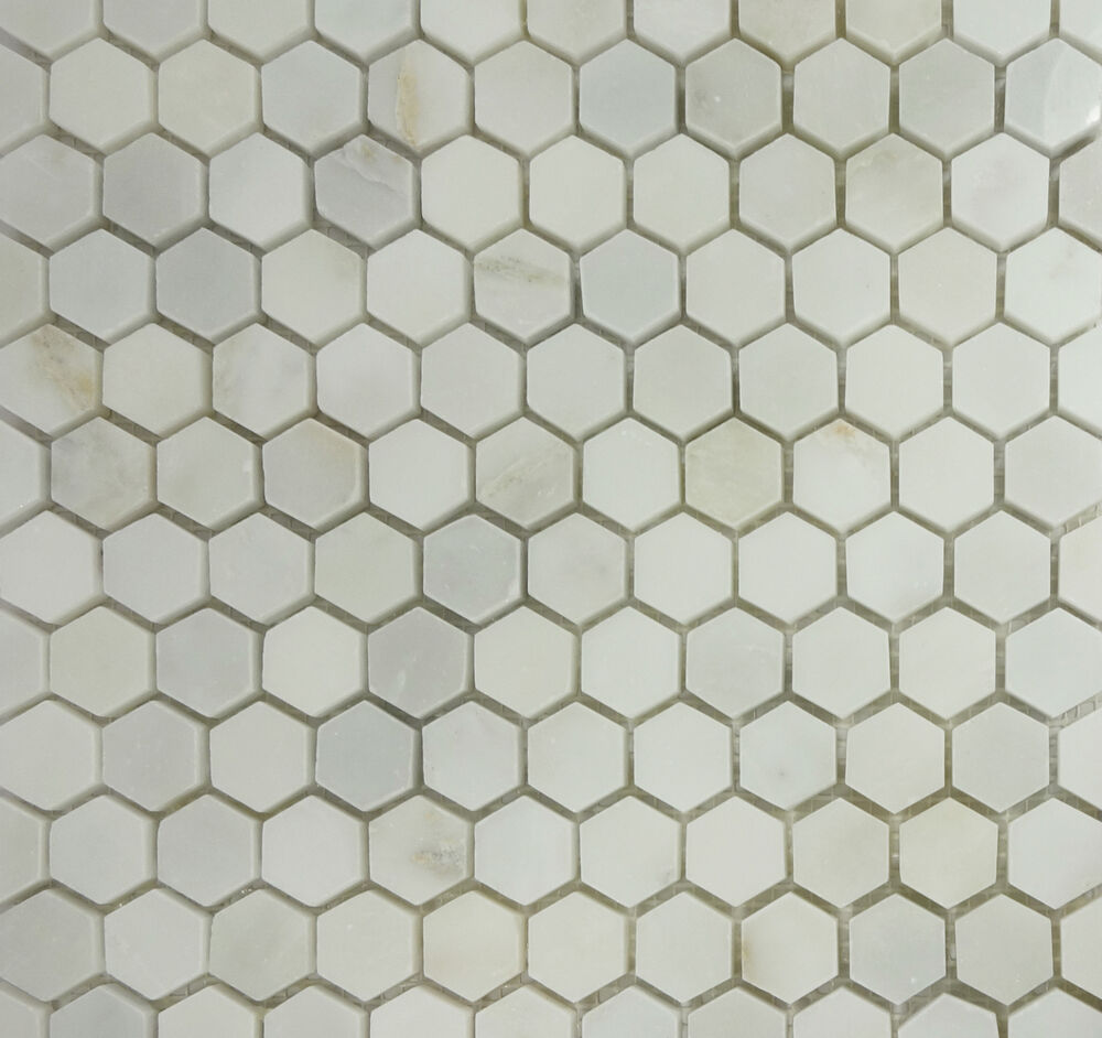 sample 1 hexagon greecian white marble mosaic tile wall