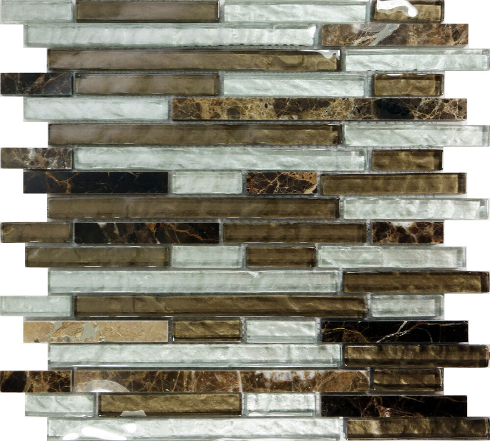 Sample Marble Green Brown Glass Linear Mosaic Tile: SAMPLE- Brown Glass Natural Stone Linear Mosaic Wall Sink