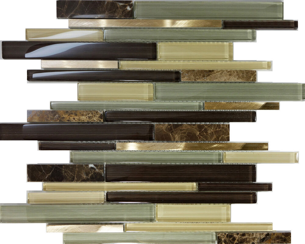 sample brown glass stainless steel natural stone mosaic