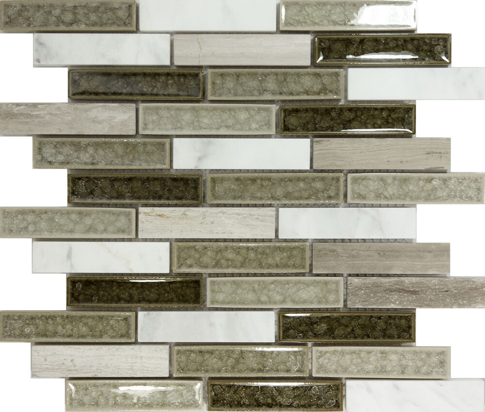 Sample Cream Crackle Glass Mosaic Tile Kitchen Backsplash: SAMPLE- Gray Crackle Glass Natural Stone Blend Mosaic Tile
