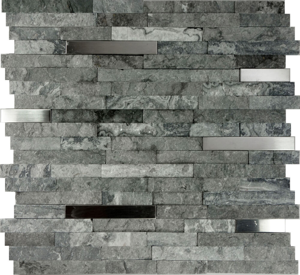 Sample gray natural stone stainless steel insert mosaic tile kitchen backsplash ebay Stone backsplash tile