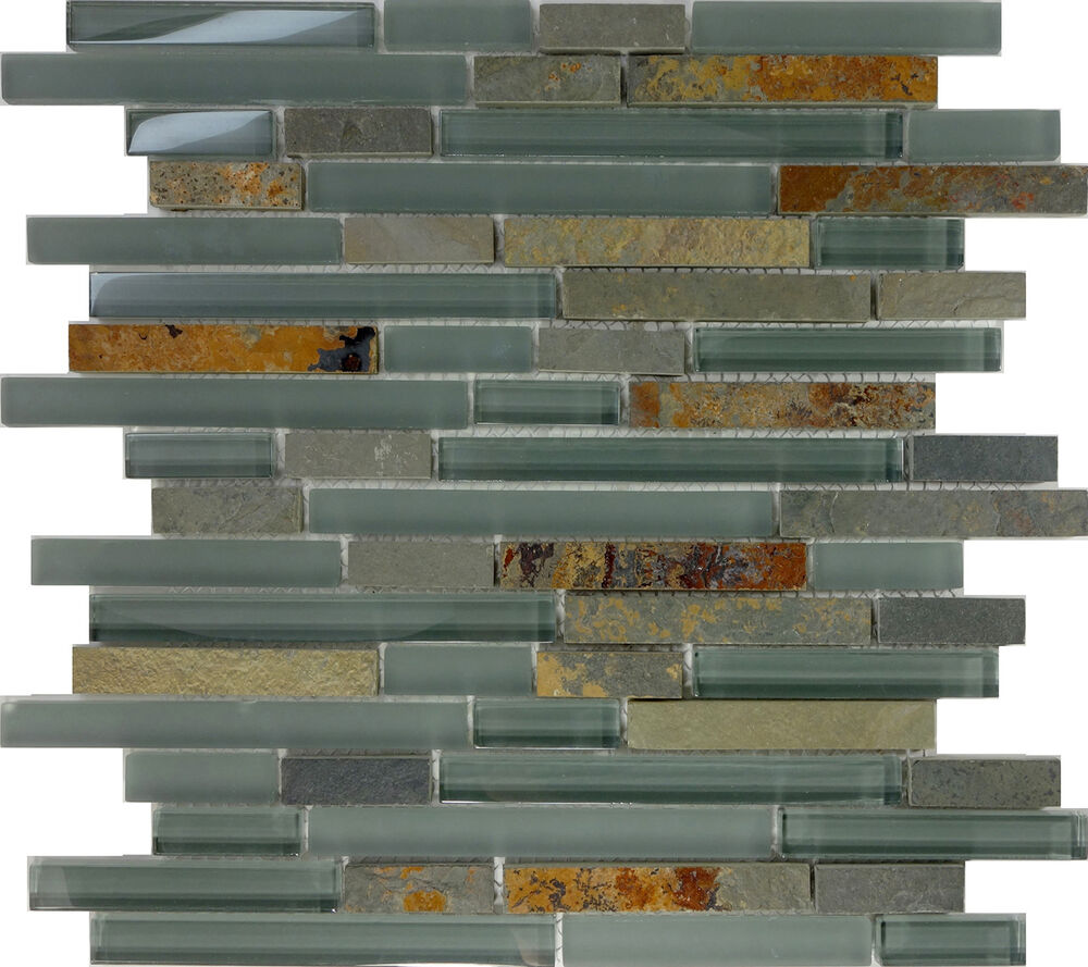 Sample Marble Green Brown Glass Linear Mosaic Tile: SAMPLE- Green Glass Natural Stone Linear Mosaic Tile Wall