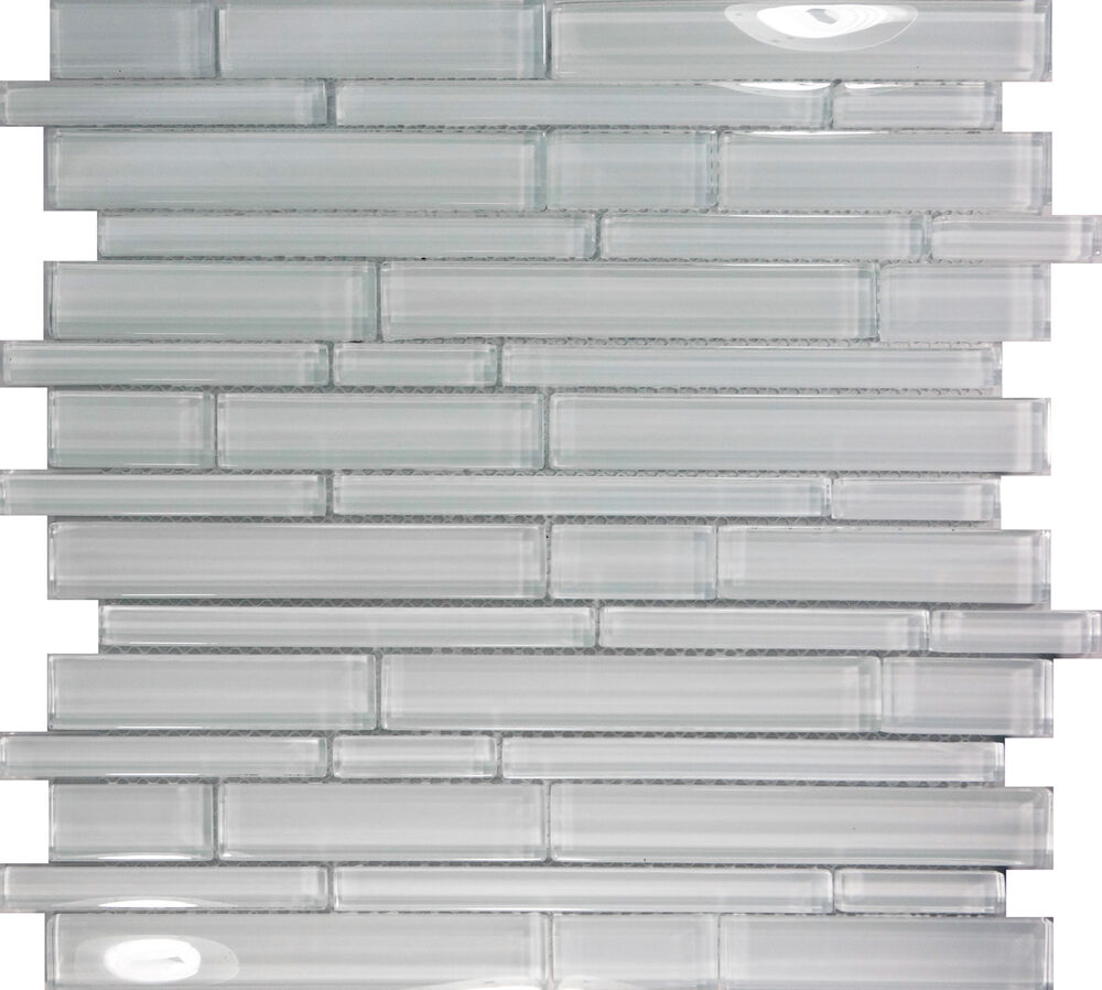 Sample Gray White Glass Natural Stone Linear Mosaic Tile: SAMPLE- White Glass Linear Mosaic Tile Kitchen Wall Floor