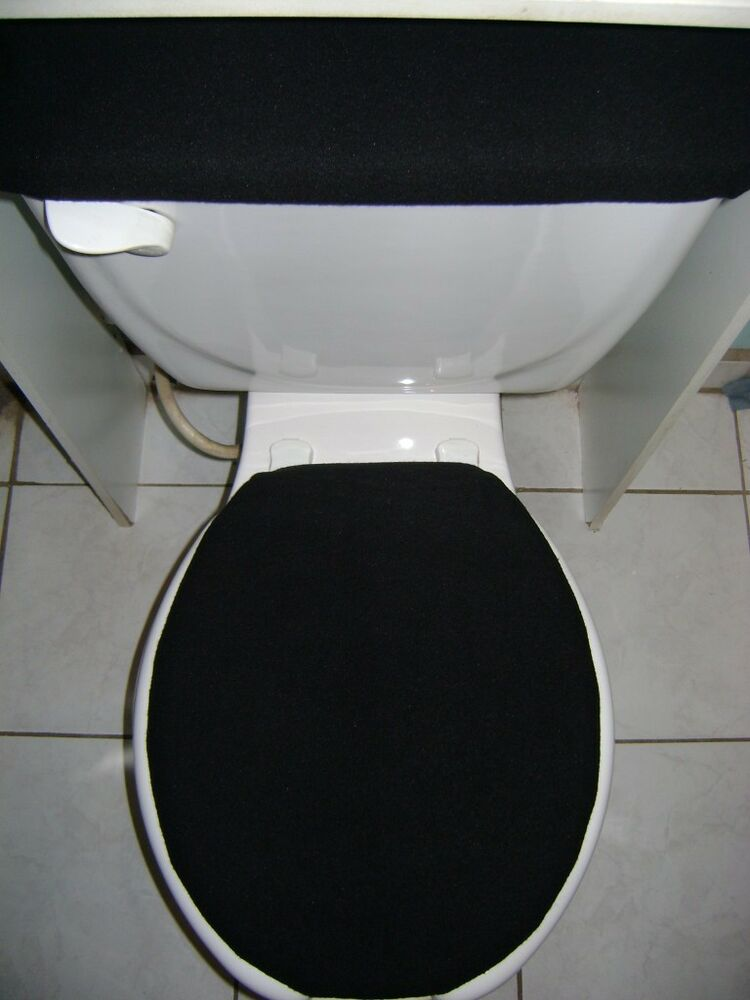 SOLID Black Fleece Fabric Elongated Toilet Seat Cover Set EBay