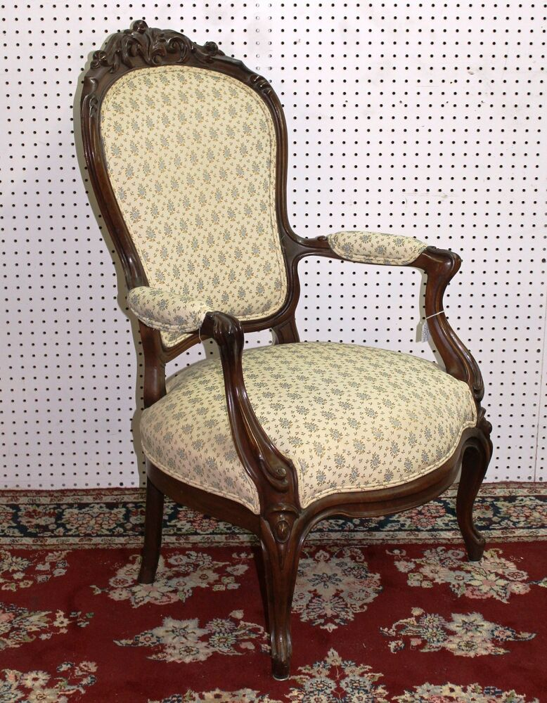 Antique American Walnut Victorian Fauteuil Arm Chair