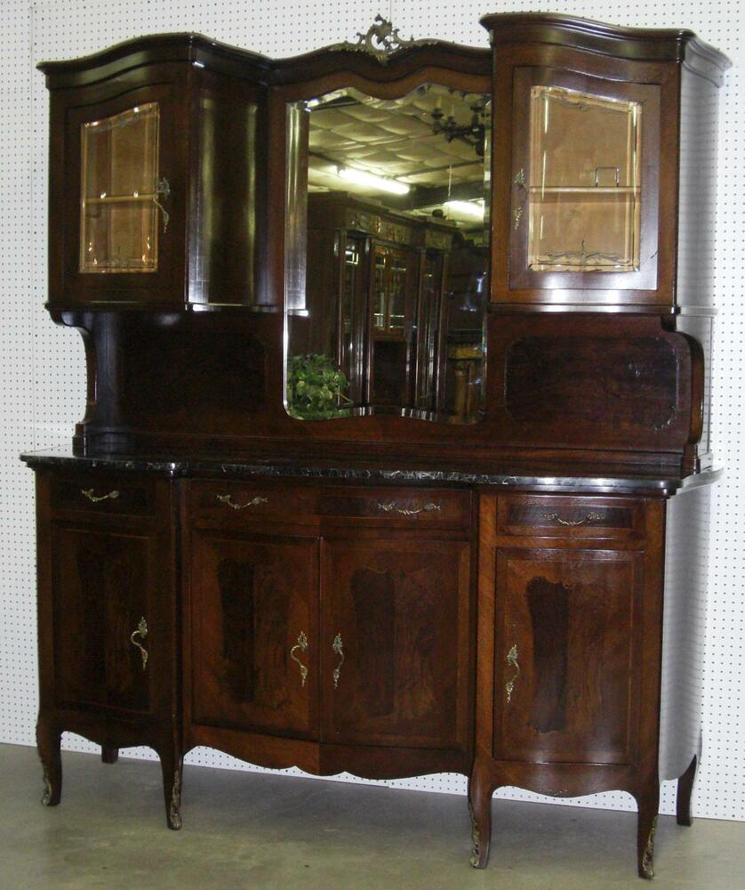 antique sideboards with mirrors antique burl walnut marble top buffet beveled 4131