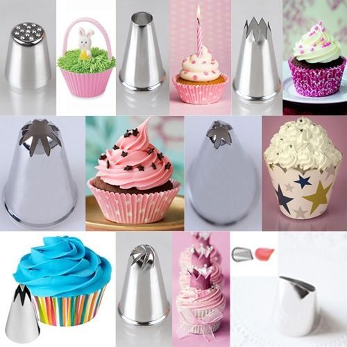 Cake Decorating Nozzle Tips : 8 Styles Perfect Shapes Icing Piping Tips Cake Cupcake ...