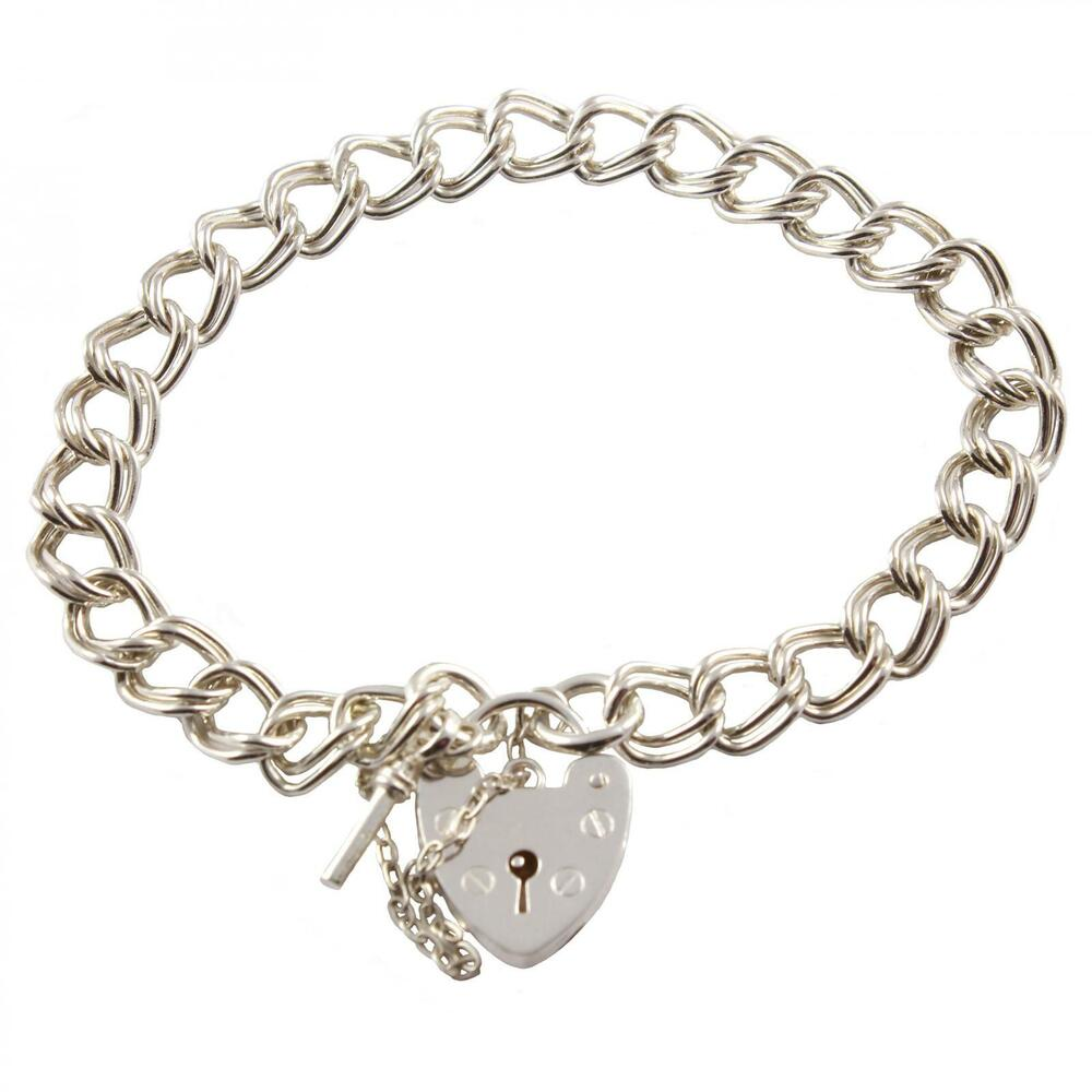 Sterling Silver Charms For Bracelets: Chunky Double Link 925 Sterling Silver Charm Bracelet With