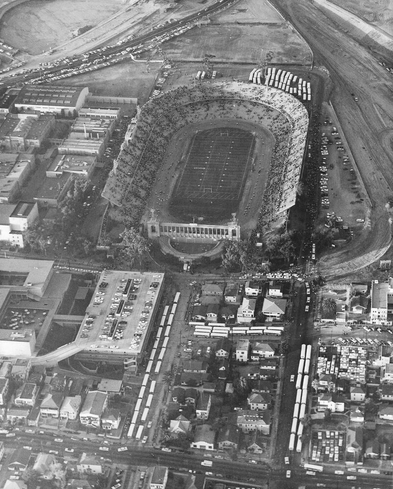 San Diego Chargers Football Field: San Diego Chargers Balboa Stadium, 8x10 B&W Photo