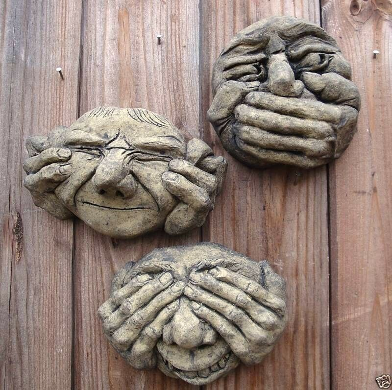 Ugly faces wall plaques set of see hear speak no evil