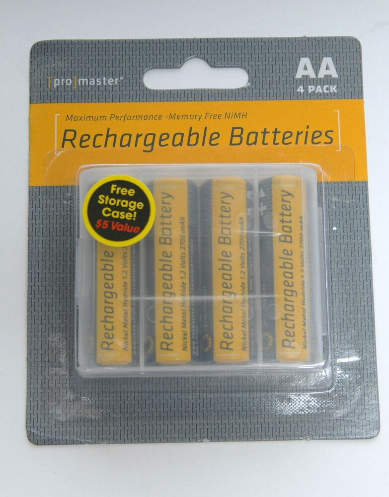 promaster set of 4 nimh 2700 mah rechargeable aa batteries. Black Bedroom Furniture Sets. Home Design Ideas