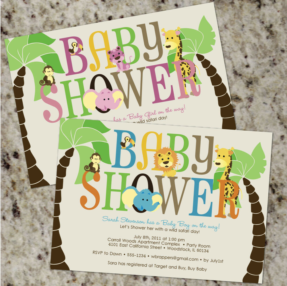 *SAFARI* Baby Shower Invitations - BOY Or GIRL - Jungle Animals