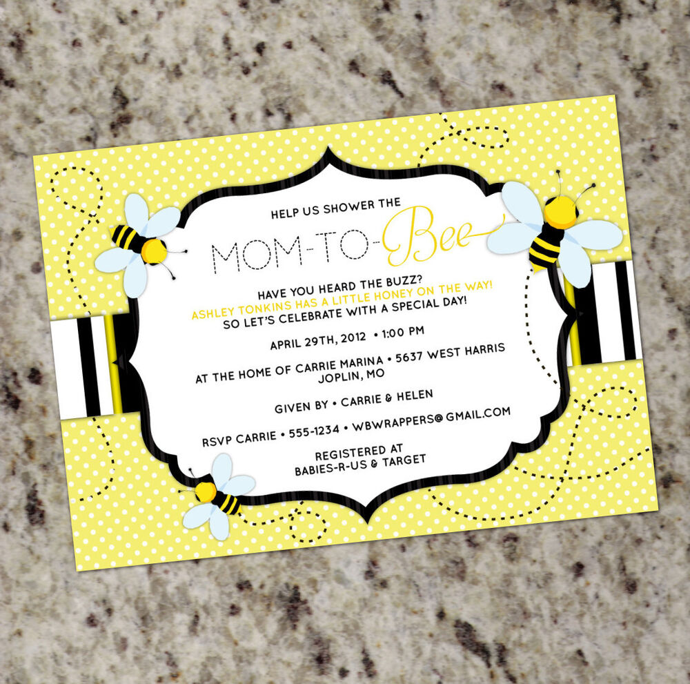 mom to bee honey bee themed baby shower invitation personalized