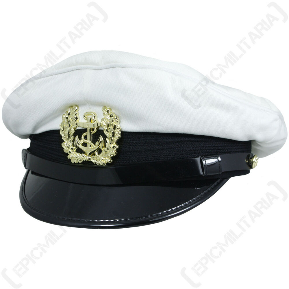 3548dd1fb053d Details about German Bundesmarine PEAKED VISOR CAP Military Navy Hat- WHITE  Repro All Sizes