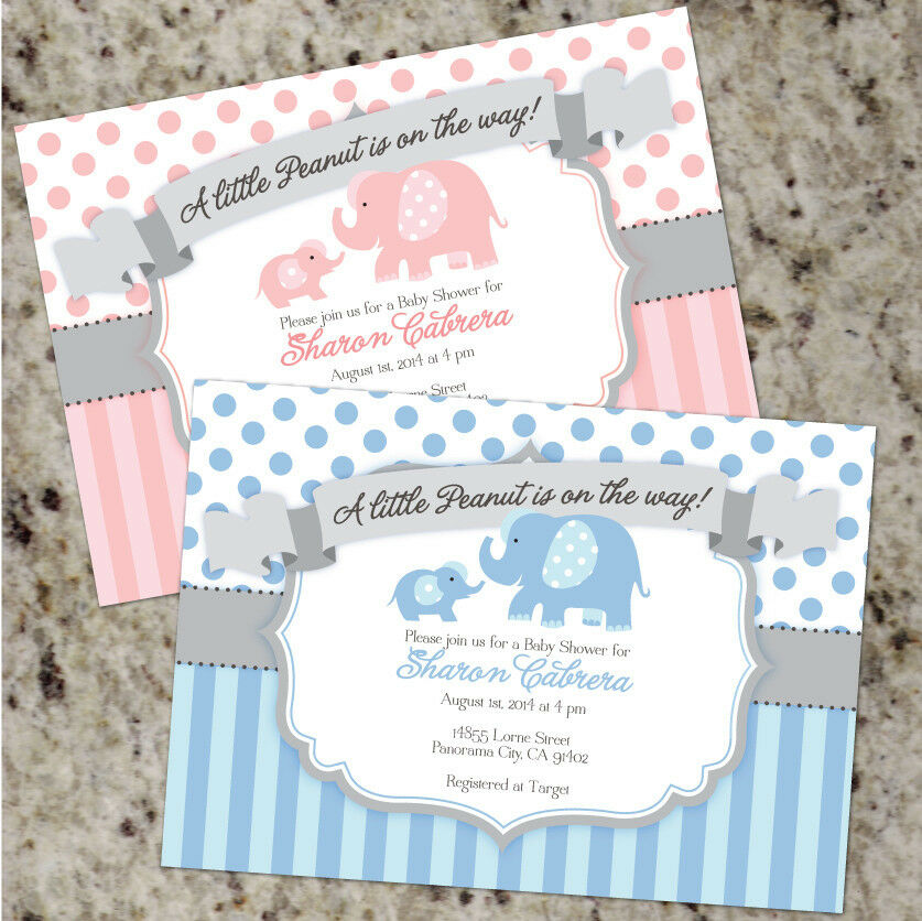 little peanut baby elephant themed shower invitations boy or girl ebay. Black Bedroom Furniture Sets. Home Design Ideas
