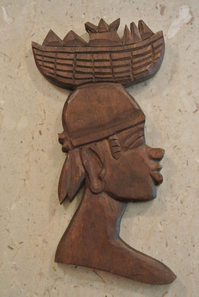 Hand carved woman with basket on head wooden african wall